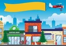 Straße und Geschäft in der Stadt in der flachen Vektorart lizenzfreie stockfotografie