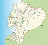 Straße und grafische hydrokarte von Ecuador mit den Hauptstraßen, den provinziellen Grenzen, den Provinzhauptstädten und den Flus Lizenzfreie Stockbilder