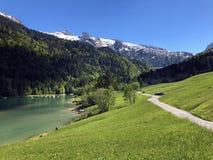 Straße und Weg durch das Wagital-Tal und durch das Wagitalersee oder Waegitalersee alpinen den See, Innerthal stockbilder