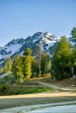 Straße unter den Bergen im Sommer Rosa Khutor, Adler Stockfotografie