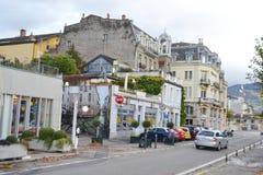 Straße in Vevey, die Schweiz Stockfotografie