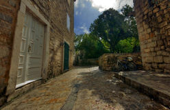 Straße von altem Budva Stockfoto