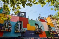 Straße von Caminito im Bezirk Boca von Buenos Aires Stockbilder