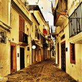Straße von Dalt Vila, die alte Stadt von Ibiza-Stadt, in balearischem Isl Stockfotografie