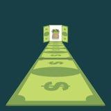 Straße von Dollar Weg zum Wohlstand Fußweg des Geldes Bargeldtasche lizenzfreie abbildung