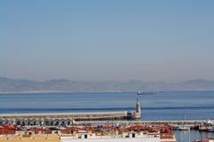 Straße von Gibraltar; zwei Kontinente Stockbilder