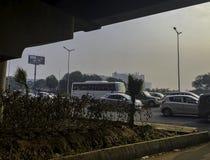 Straße von Gurgaon/von Gurugram, Neu-Delhi lizenzfreies stockfoto