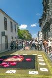 Straße von La Laguna mit Blumenteppichen Stockbild