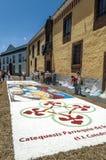 Straße von La Laguna mit Blumenteppichen Lizenzfreies Stockbild