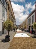 Straße von La Laguna mit Blumenteppichen Stockbilder