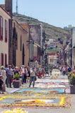 Straße von La Laguna mit Blumenteppichen Stockfoto