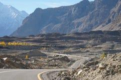 Straße von Sost zu Pasu, nördlicher Bereich von Pakistan Stockbild