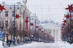 Straße von Vilnius, Weihnachten Lizenzfreie Stockbilder