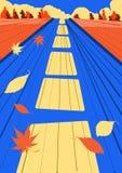 Straße voran Herbst Die Straße, fliegende Blätter, helle Farben freude lizenzfreie stockbilder