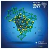 Straße zu Brasilien-Fußball-Turnier-Sport 2014 geometrisches Infograp Stockfoto