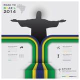 Straße zu Brasilien-Fußball-Turnier-Sport 2014 Infographic Stockfotos
