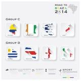 Straße zu Brasilien-Fußball-Turnier-Sport 2014 Infographic Stockfoto