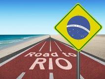 Straße zu Brasilien-Olympischen Spielen in Rio Lizenzfreie Stockfotos