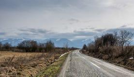 Straße zu den Bergen stockfotografie