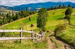 Straße zu den ländlichen Feldern auf Hügeln im Berggebiet Lizenzfreie Stockfotografie