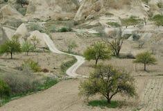 Straße zu den Vorbergen von Cappadocia weg laufen lassen Die Türkei Stockfotografie