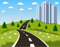 Straße zu einer Stadt Lizenzfreie Stockbilder