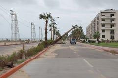Straße zu Medano-Strand Stockfoto