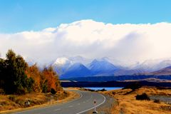 Straße zu Mt-Koch, Neuseeland stockfotografie