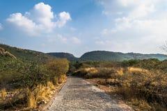 Straße zu Ranthambore-Tiger Reserve stockfotos
