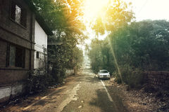 Straße zu St- Augustinekirche in altem Goa Lizenzfreie Stockfotos