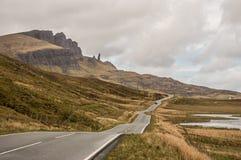 Straße zum alten Mann von Storr, Insel von Skye stockfoto