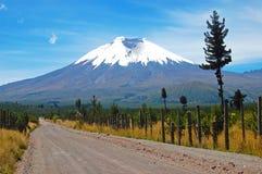 Straße zum Cotopaxi-Vulkan Stockbilder
