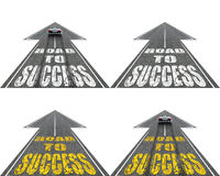 Straße zum Erfolg, vier Varianten Stockfotografie