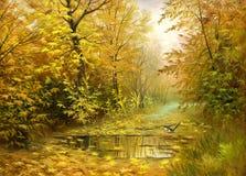 Straße zum Herbstholz Stockfotografie