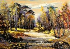 Straße zum Herbstholz Stockbilder