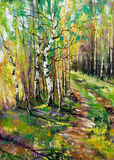 Straße zum Herbstholz Stockfotos