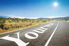 Straße zum Horizont Ihre Weise lizenzfreies stockbild