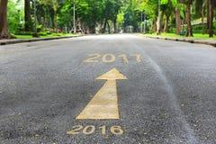 Straße zum neuen Jahr von 2016 bis 2017 Lizenzfreies Stockfoto