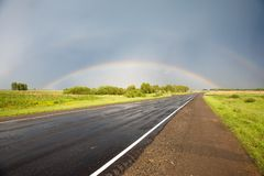Straße zum Regenbogen Stockfotos