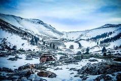 Straße zum Schneewald Stockfotos