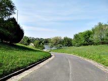 Straße zum See Stockbild