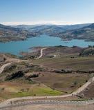 Straße zum See von Zahara Stockfoto