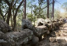 Straße zum Tempel, zum Holz und zu den Ruinen von Statuen, 12. Jahrhundert, Kambodscha Stockfotografie