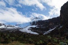 Straße zur Oberseite von mt kilimanjaro Stockbild