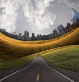Straße zur Stadt Stockbilder