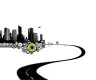 Straße zur Stadt. Vektorkunst Lizenzfreie Stockfotos