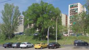 Straßenüberquerung nahe einigen Bäumen stock video