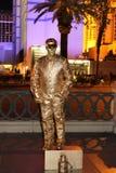 Straßen-Ausführender in Las Vegas: Menschliche Goldstatue lizenzfreie stockbilder