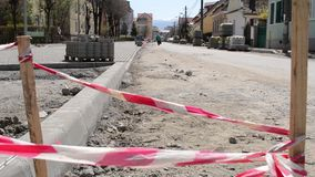 Straßen-Baustelle schwebend stock video footage