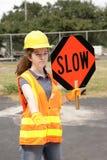Straßen-Besatzung-langsames Zeichen stockbild